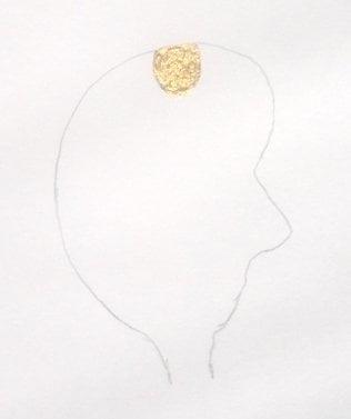 Inverted Shivalingam in head